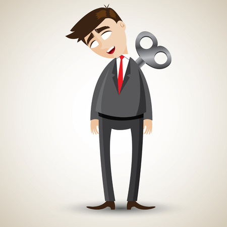 tried: illustration of cartoon businessman with wind up on his back and out of energy.