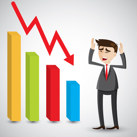 unsuccessful: illustration of cartoon businessman fail with graph fall.business fail concept.