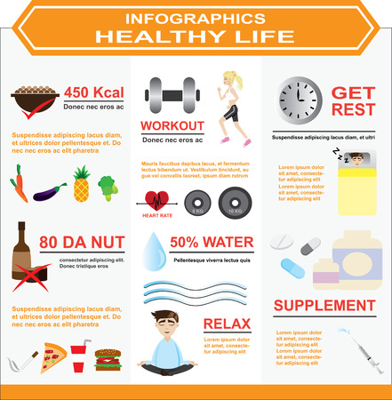 wellbeing: illustration of infographics  healthy life