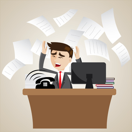 workload: illustration of cartoon businessman busy on office table Illustration