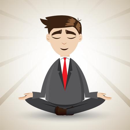 漫画のビジネスマンの瞑想とリラックスのイラスト  イラスト・ベクター素材