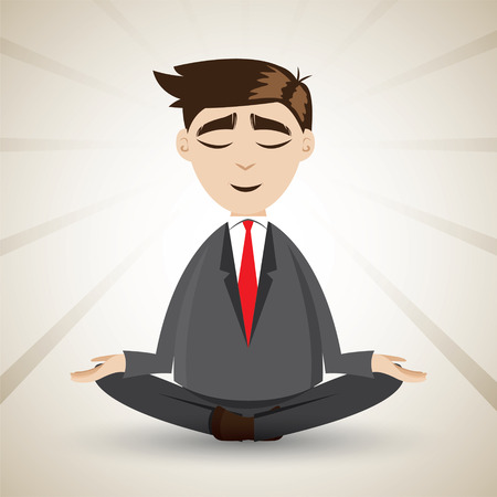 illustration of cartoon businessman relaxing with meditation