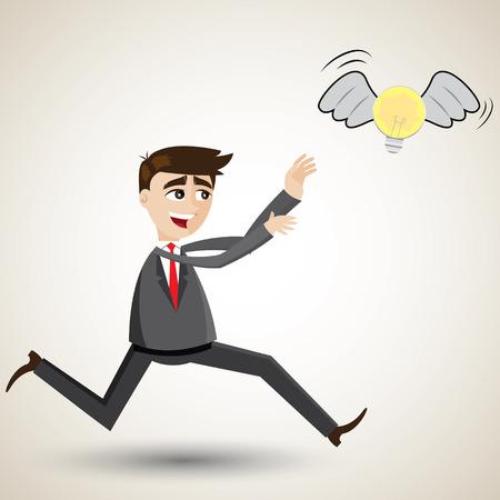 illustration of cartoon businessman chasing idea Vector