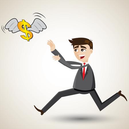 illustration of cartoon businessman chasing money Vector