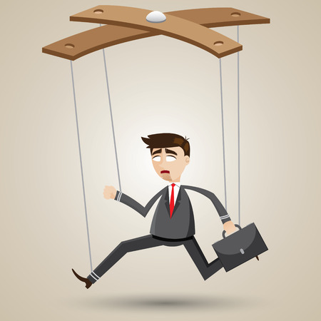 puppeteer: illustration of cartoon businessman in puppet style.