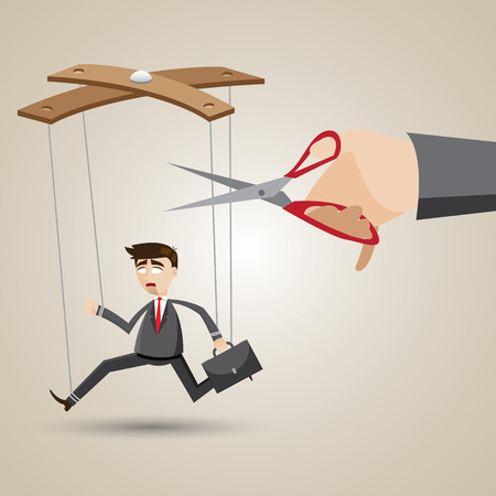 unchain: illustration of cartoon businessman in puppet style with scissors to cutting nylon.