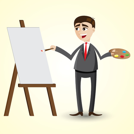 manager team: illustration of cartoon businessman with blank board and colot palette Illustration