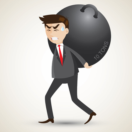 heavy load: illustration of cartoon businessman carry steel sphere.responsibility concept.
