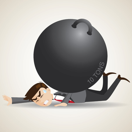 heaviness: illustration of cartoon businessman falling with weight on his back.trouble concept.