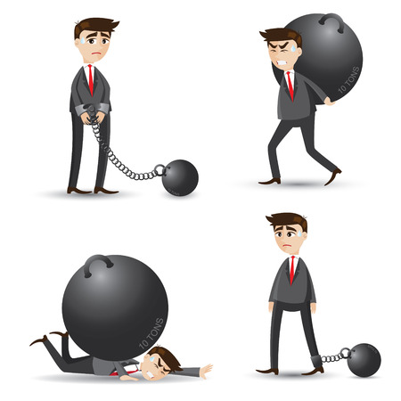 tired businessman: illustration of cartoon businessman set of failure Illustration