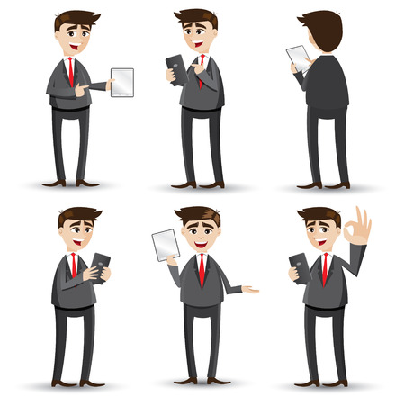 illustration of cartoon businessman with tablet set