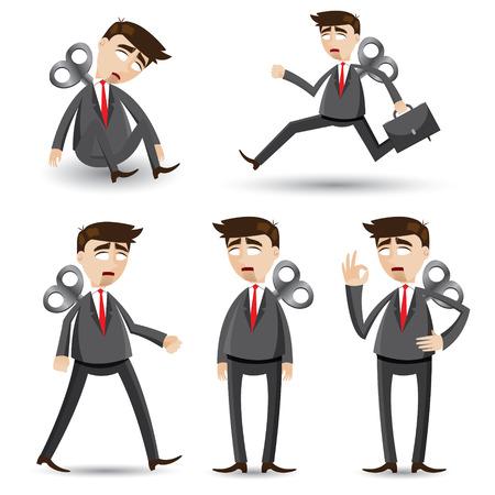 manager team: illustration of cartoon businessman set in robot style