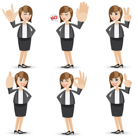illustration of cartoon businesswoman with sign hand Vectores