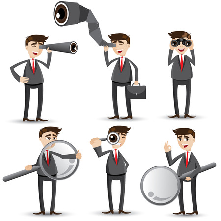 scope: illustration of cartoon businessman with searching gesture