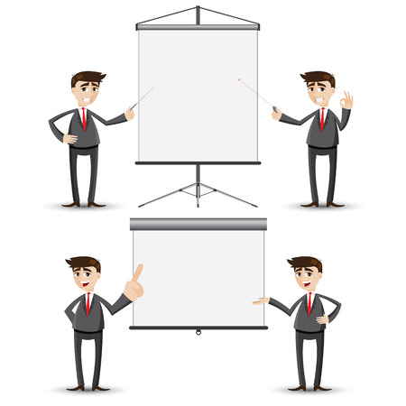 illustration of cartoon businessman presentation with board Vector