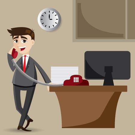 illustration of cartoon businessman on the phone Vector