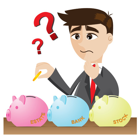 illustration of cartoon businessman investment with piggy bank Vectores