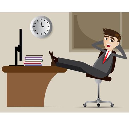 イラスト漫画のビジネスマンの椅子でリラックスします。
