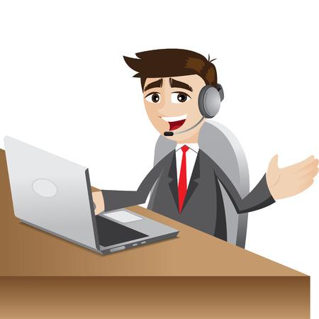 illustration of cartoon call center businessman with headphone