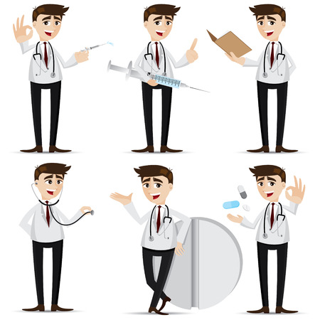 illustration of cartoon doctor in action Vector