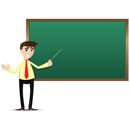 illustration of cartoon teacher with black board