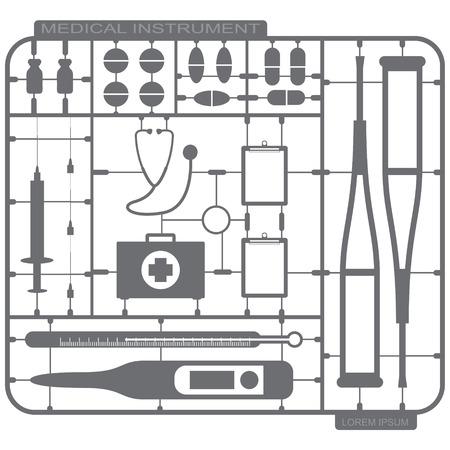 crutch: illustration of Plastic model set of medical instrument Illustration