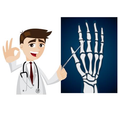 mano cartoon: illustrazione di cartone animato medico con x-ray film Vettoriali