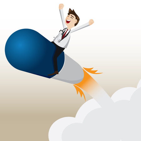 illustration of cartoon pharmacist riding capsule missile Vectores