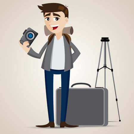 illustration of cartoon photographer with bag and tripod Иллюстрация