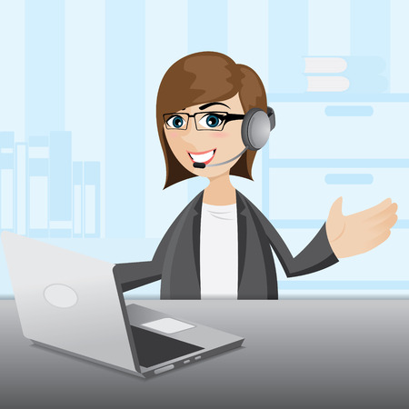 callcenter: illustration of cartoon businesswoman in public relation form with computer notebook and headphone Illustration
