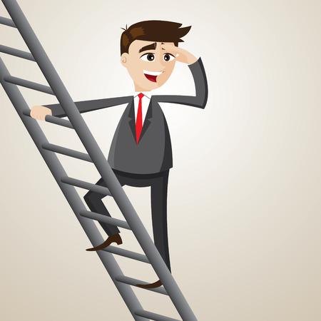 finding: illustration of cartoon businessman climb ladder and looking for opportunity Illustration