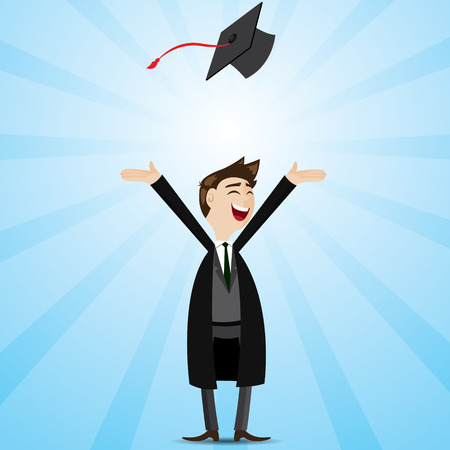 illustration of cartoon businessman in graduation form 向量圖像