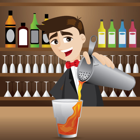 illustration of cartoon bartender pouring cocktail
