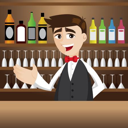 bartender: illustration de barman de bande dessin�e au bar � cocktails