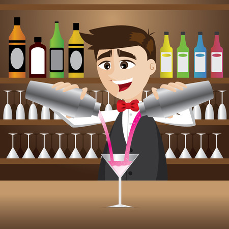 illustration of cartoon bartender pouring cocktail Vector