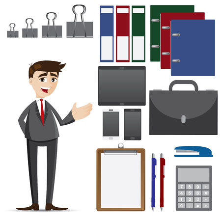 illustration of cartoon businessman with set of office accessories Vector