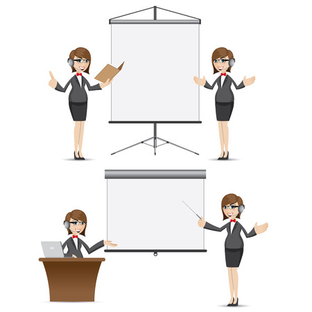 presentation board: illustration of cartoon businesswoman with presentation board set