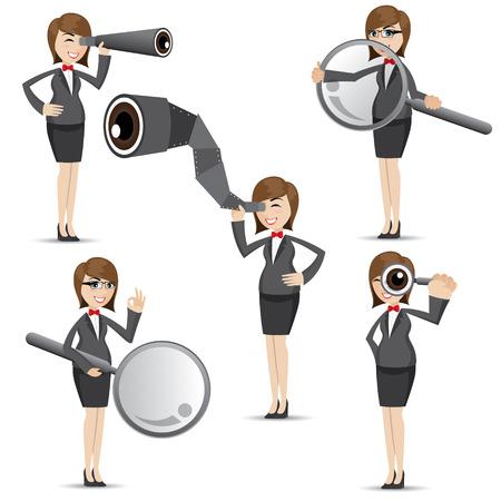 illustration of cartoon businesswoman in finding gesture