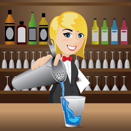 bartender: illustration de fille de bande dessin�e barman verser cocktail Illustration