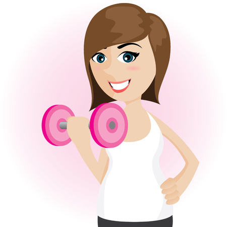 salubrity: illustration of cartoon cute girl with dumbbell