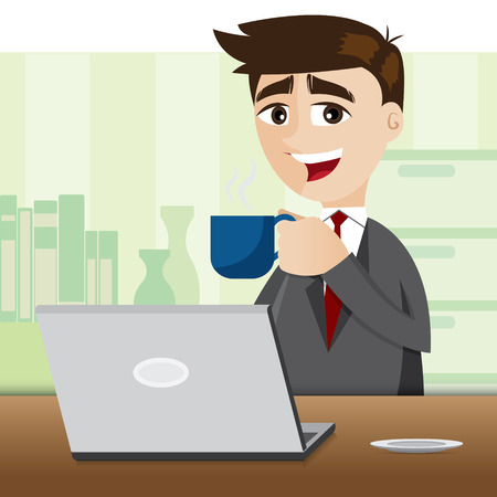 illustration of cartoon businessman with cup of coffee Vector