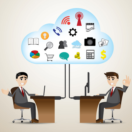 illustration of cartoon businessman with cloud computer connecting