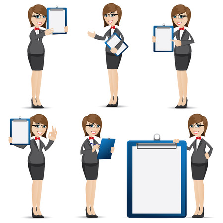 illustration of cartoon businesswoman with blank board set Vector