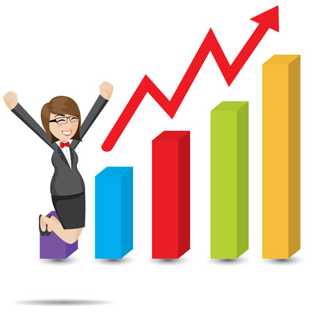 accomplishments: illustration of cartoon businesswoman with rising chart Illustration