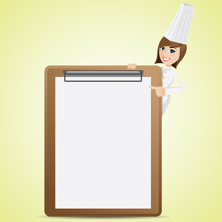 at sign: illustration of cartoon cute chef with blank menu board Illustration
