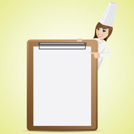chef caricatura: ilustración de dibujos animados cocinero lindo con la tarjeta en blanco del menú