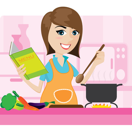 housemaid: illustration of cartoon housewife cooking in kitchen