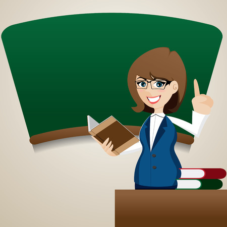cartoon work: illustration of cartoon cute teacher teaching at blackboard