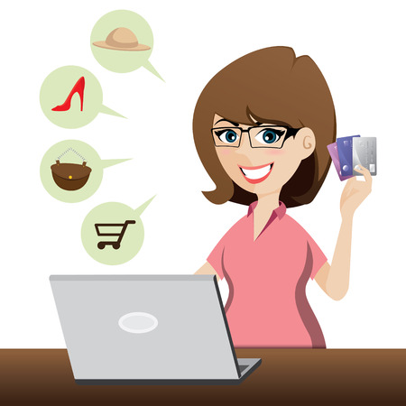 illustration of cartoon cute girl shopping online with credit cards Vector