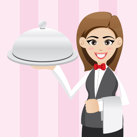 person appetizer: illustration of cartoon cute waitress with food tray
